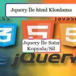 Js ile Html klonlama Satır kopyalama